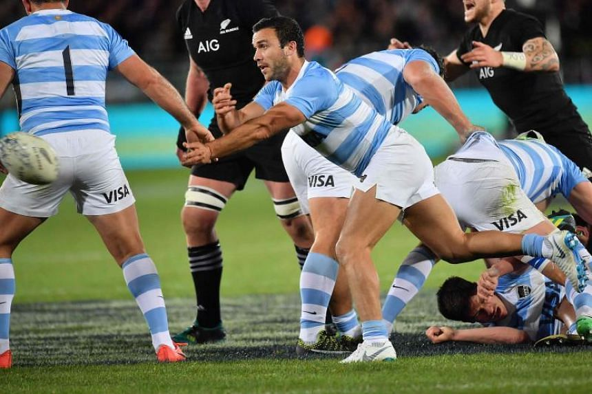 Argentina's Martin Landajo making a pass during the Rugby match between New Zealand and Argentina at Trafalgar Park in Nelson, New Zealand on Sept 8, 2018.