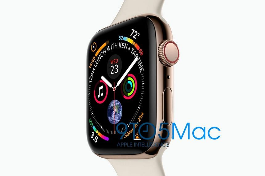 An image of the upcoming Apple Watch Series 4 was also leaked, according to tech website 9to5Mac.  PHOTO: 9to5Mac