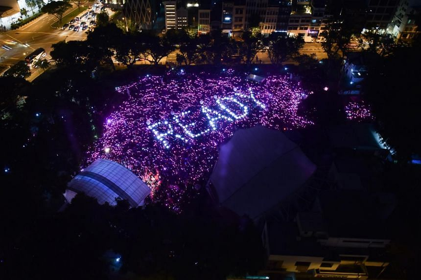 An aerial view of participants of Pink Dot at Hong Lim Park, on July 21, 2018.