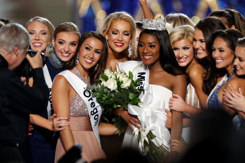 Miss New York Nia Imani Franklin poses for a photo after she won Miss America, on Sept 9, 2018.