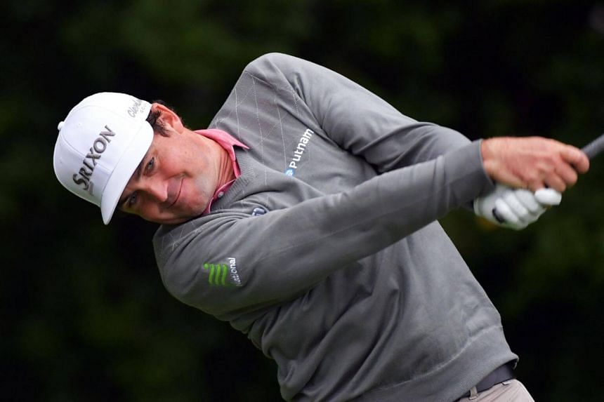 Keegan Bradley plays his tee shot on the fourth hole during the weather-delayed final round of the BMW Championship at Aronimink Golf Club on Sept 10, 2018 in Newtown Square, Pennsylvania.
