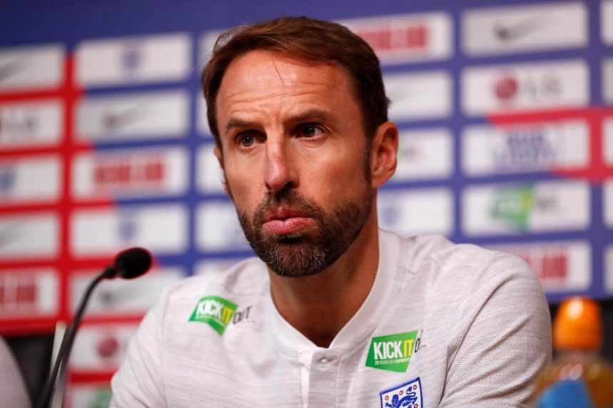 England's manager Gareth Southgate taking part in a press conference at the King Power stadium in Leicester, England, on Sept 10, 2018.