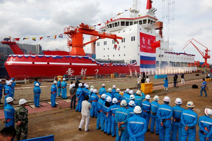 The launch ceremony of China's first domestically built polar icebreaker Xuelong 2, or Snow Dragon 2, at a shipyard in Shanghai on Sept 10, 2018.