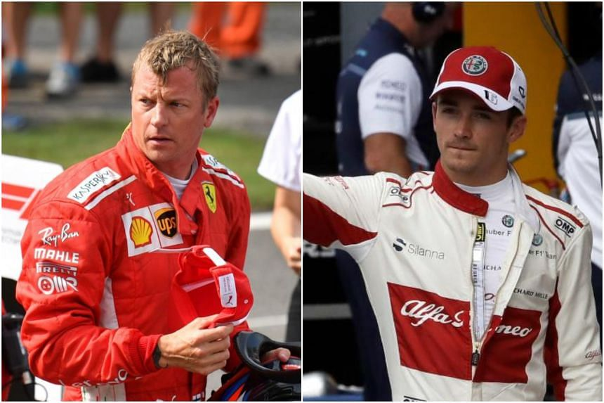 Kimi Raikkonen (left) will leave Ferrari at the end of the season, while Charles Leclerc is set to join the team.