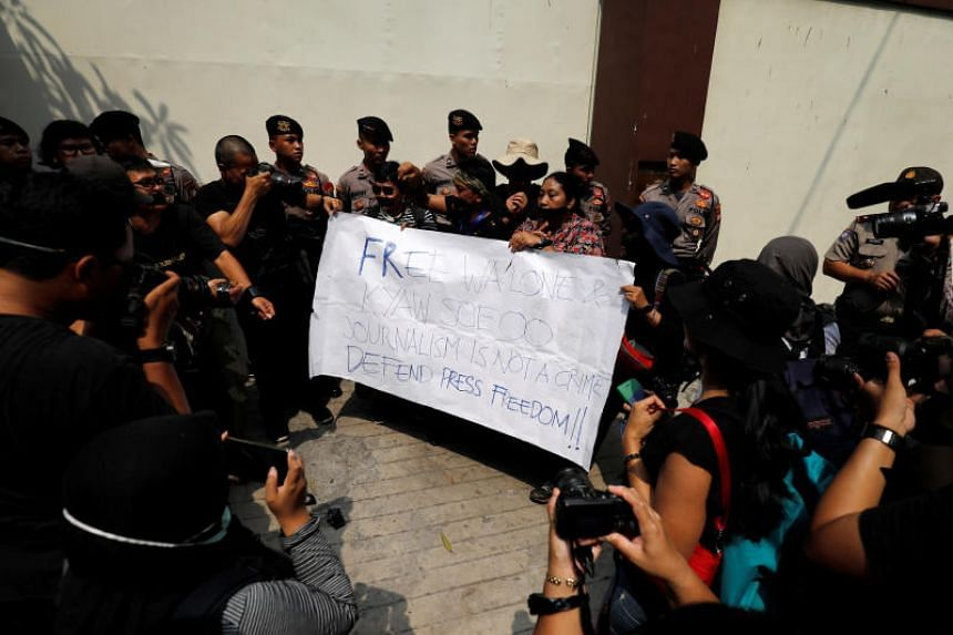 Journalists take part in a protest against the recent imprisonment by Myanmar authorities of Reuters journalists Wa Lone, 32, and Kyaw Soe Oo, 28, outside the Myanmar embassy in Jakarta, Indonesia, on Sept 7, 2018.