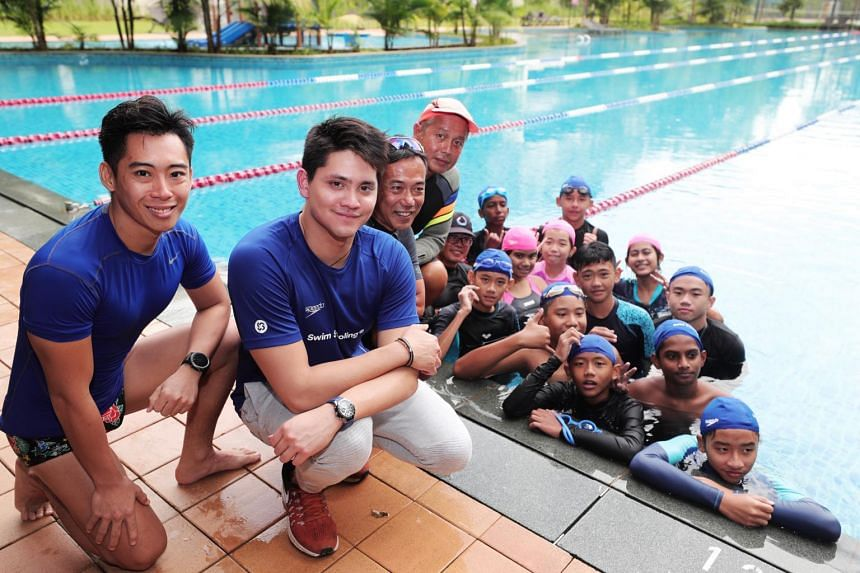 Olympic champion Joseph Schooling spent some time sharing his experiences with twelve children aged 12 to 14 from Care Singapore at the Temasek Club pool.