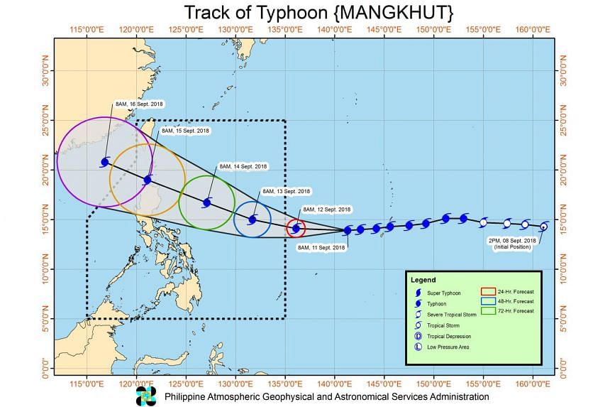 Typhoon Mangkhut is forecast to pack maximum winds of 230kph by Sept 14 2018 before gradually weakening