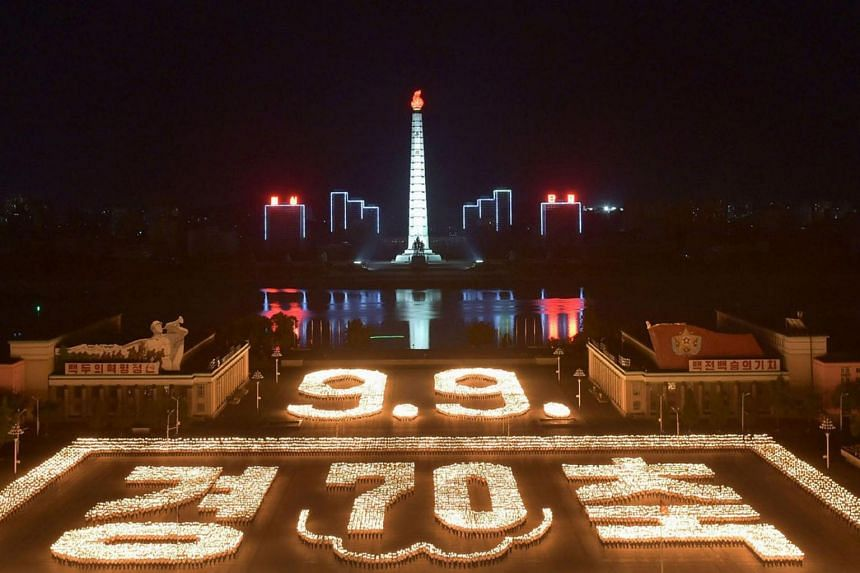 An overview of the torch parade at the Kim Il Sung square in Pyongyang to celebrate the country's 70th birthday, on Sept 10, 2018.