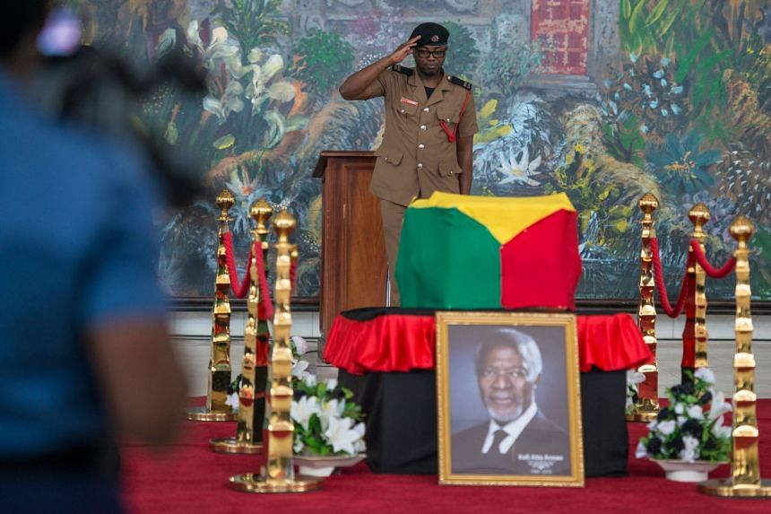 Image result for Ghanaians bid farewell to Kofi Annan during a public lying-in-state ceremony