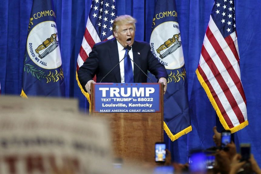 Trump addressing supporters at a Super Tuesday campaign rally in Louisville, Kentucky, March 1, 2016.