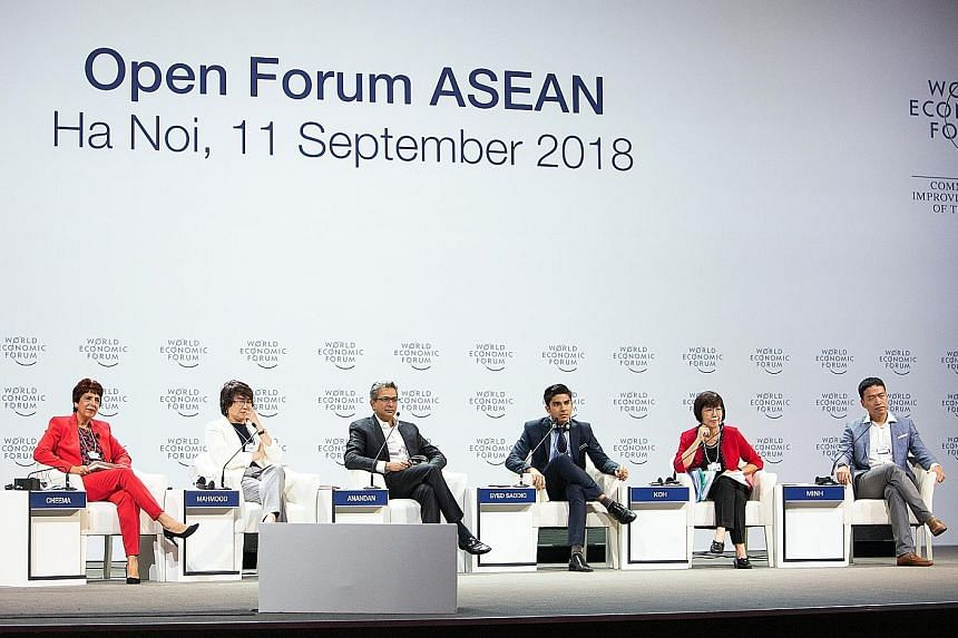 (From left) Dr Amrita Cheema, senior anchor of German broadcaster Deutsche Welle; Datuk Yasmin Mahmood, chief executive officer of Malaysia Digital Economy Corporation; Mr Rajan Anandan, vice-president of Google (India and South-east Asia); Mr Syed S