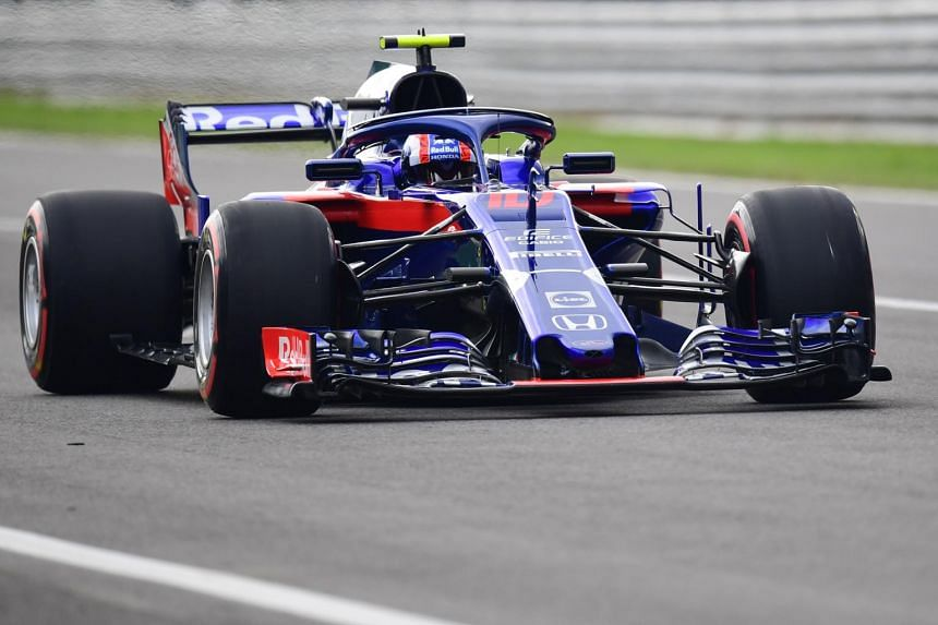 Toro Rosso's Pierre Gasly competes during the qualifying session at the Autodromo Nazionale circuit in Monza, Italy, on Sept 1, 2018.