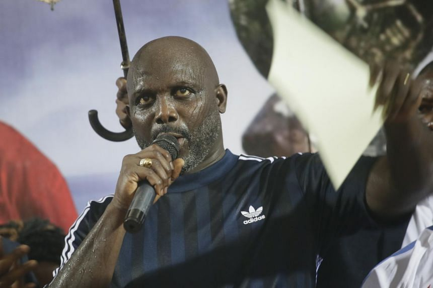 Liberia President George Weah speaks after an international friendly match between Liberia and Nigeria, at the Samuel Kanyon Doe Sports Complex in Liberia, on Sept 11, 2018.