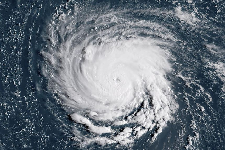 A satellite image taken on Sept 10, 2018 shows Hurricane Florence off the US east coast in the Atlantic Ocean.