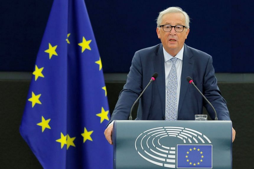 European Commission President Jean-Claude Juncker delivers a speech during a debate on The State of the European Union at the European Parliament in Strasbourg, France, on Sept 12, 2018.