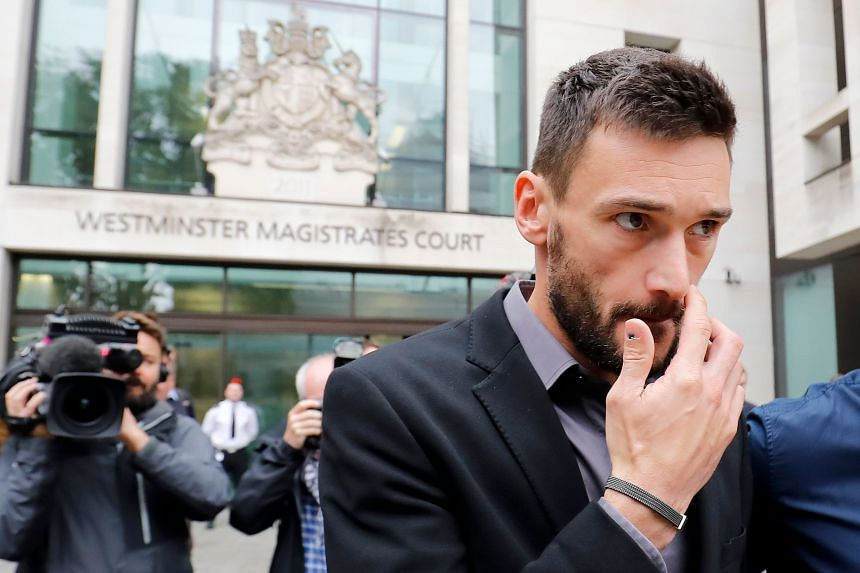 Tottenham Hotspur's French goalkeeper Hugo Lloris leaves after attending Westminster Magistrates Court in central London, on Sept 12, 2018.