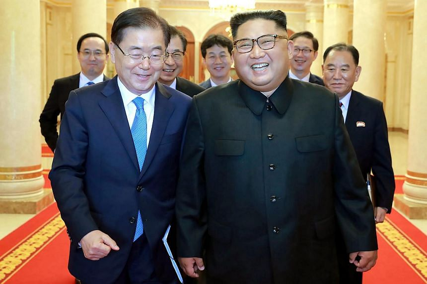 Relations are thawing after North Korean leader Kim Jong Un met South Korean envoy Chung Eui-yong (left) in September 2018.