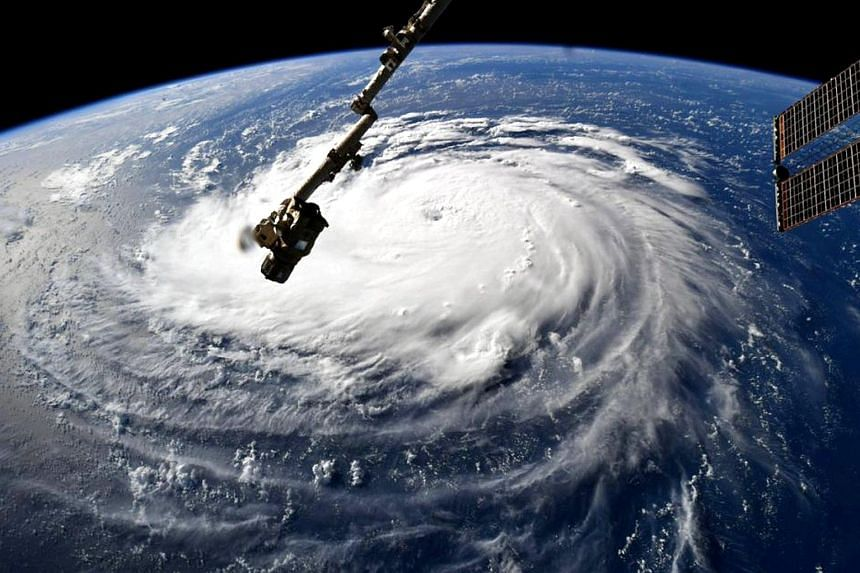 Hurricane Florence is seen from the International Space Station as it churns in the Atlantic Ocean towards the east coast of the United States, on Sept 10, 2018.