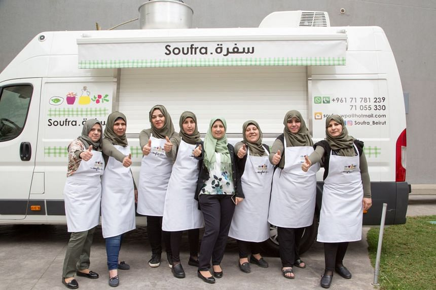 Mariam Shaar's food truck business with a diverse team of fellow refugee women who now share the Burj El Barajneh refugee camp just south of Beirut, Lebanon, as their home.
