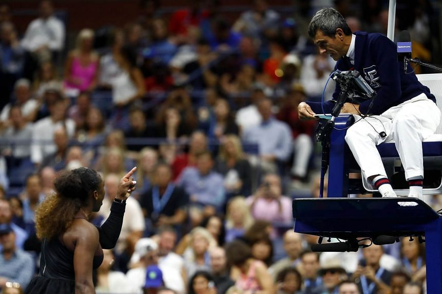 Serena Williams argues with umpire Carlos Ramos after her defeat in the US Open women's singles finals match to Naomi Osaka, on Sept 8, 2018.