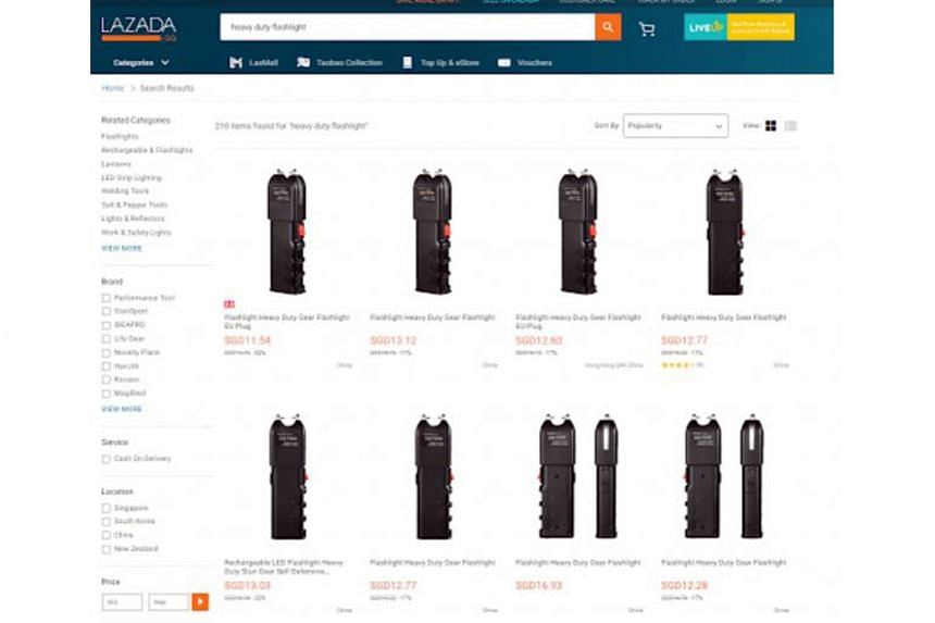 """A search on Lazada's website on Sunday found at least 12 separate listings of the items, labelled as """"heavy duty gear flashlight(s)"""", being sold for between $11 and $14. The listings did not clearly specify the charge the products can deliver, but ph"""