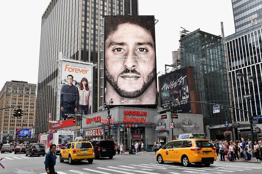A Nike billboard featuring American football quarterback Colin Kaepernick, seen in New York City on Sept 8, 2018.