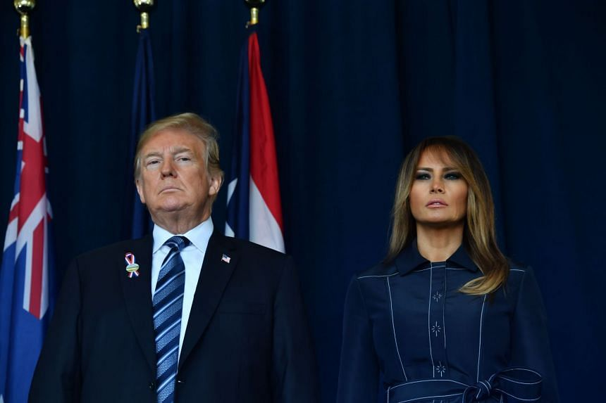 Donald and Melania Trump visiting the site of a new memorial in Pennsylvania where Flight 93 crashed during the Sept 11 attacks.