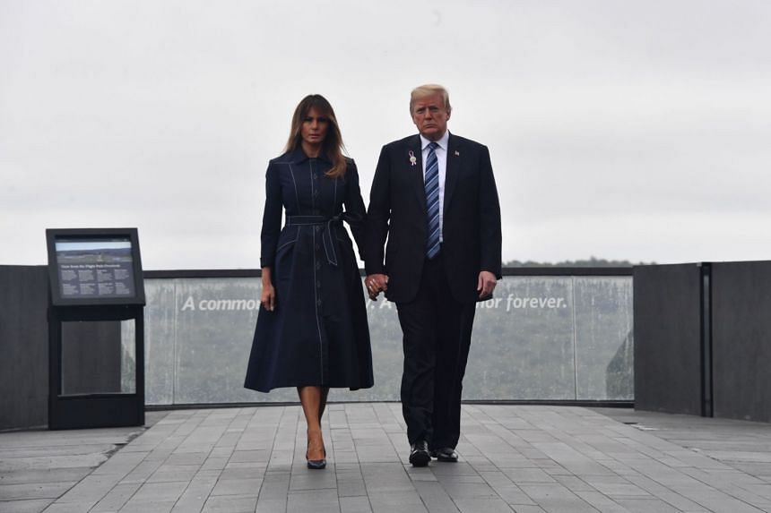 Donald and Melania Trump visit the site of a new memorial in Shanksville, Pennsylvania where Flight 93 crashed.