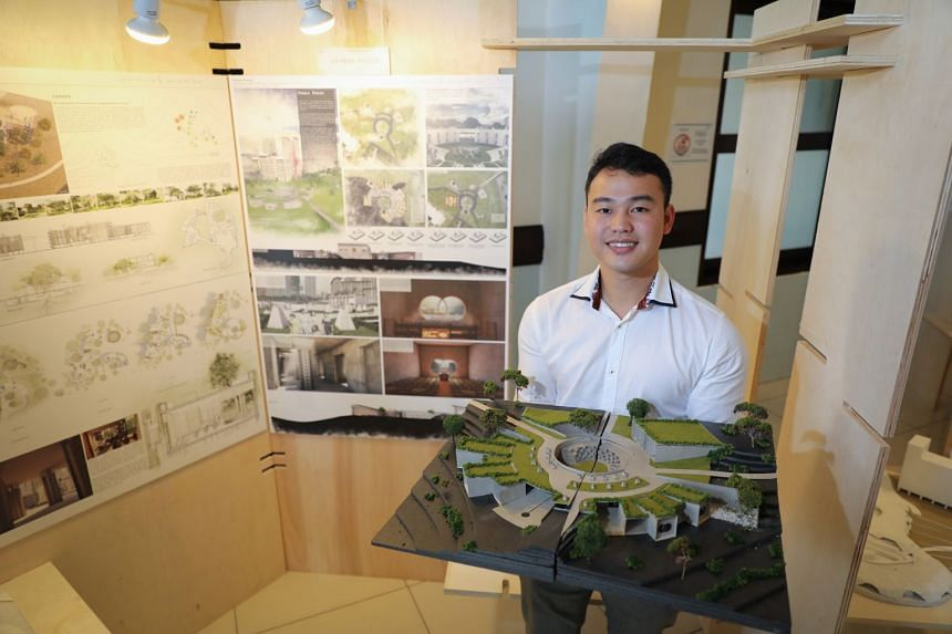 "John Kevin Chandra, 24, a student from NUS, with his design that won the first prize in the ""Land for the Living - Space for the Dead"" design challenge."
