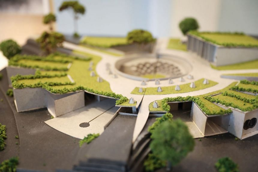 A scale model of the design by John Kevin Chandra. He is one of five undergraduates who received prizes after taking part in a challenge to come up with architectural concepts and designs of funeral service halls and columbaria.