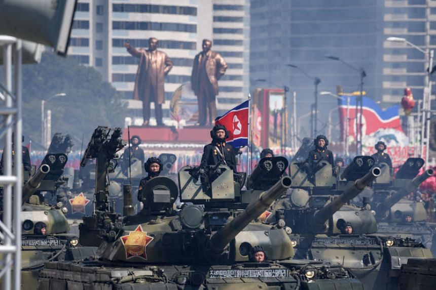 Korean People's Army tanks take part in a military parade on Kim Il Sung square in Pyongyang, on September 9, 2018.