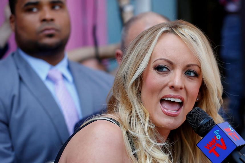 Stormy Daniels speaking at an event in West Hollywood, California, in May 2018.