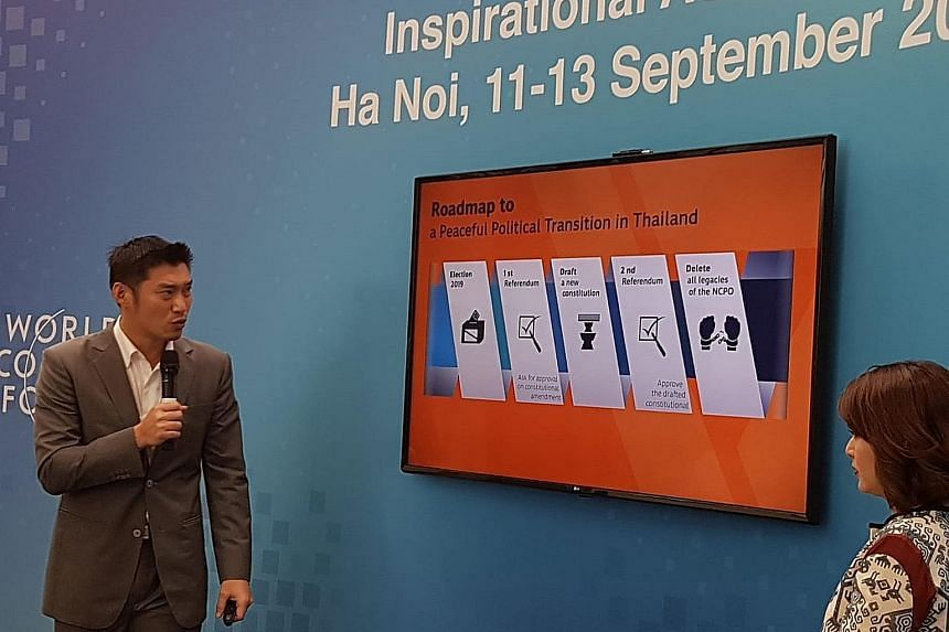 """Mr Thanathorn Juangroongruangkit of Thailand's Future Forward Party speaking of his road map for democracy at the forum. He said it was more than just fighting for votes, and that this """"war of ideas"""" could take decades."""