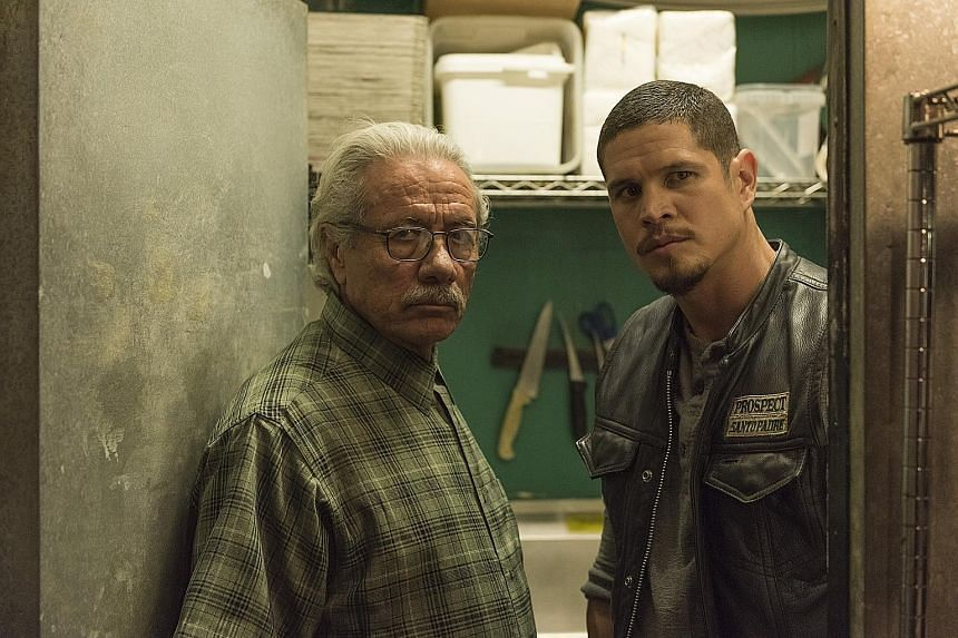 """Edward James Olmos (left) stars in Mayans M.C. as the father of charismatic anti-hero Ezekiel """"EZ"""" Reyes, who is played by J.D. Pardo (right)."""