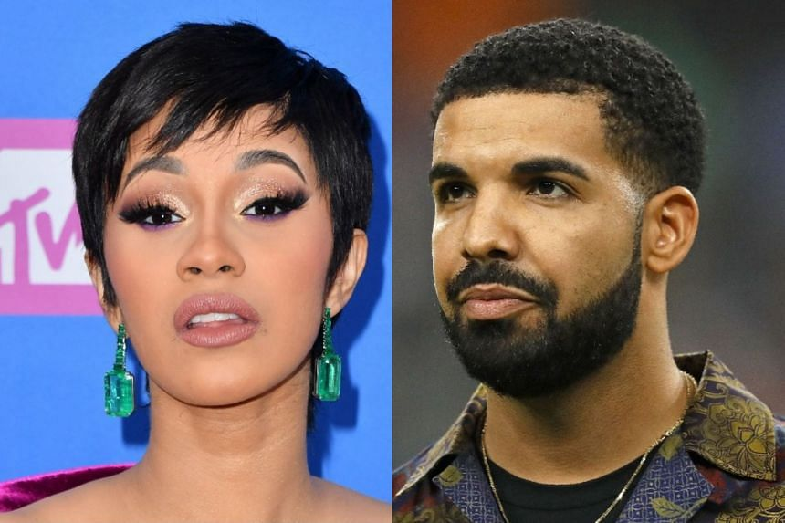 Cardi B (left) and Drake lead the American Music Award nominations.