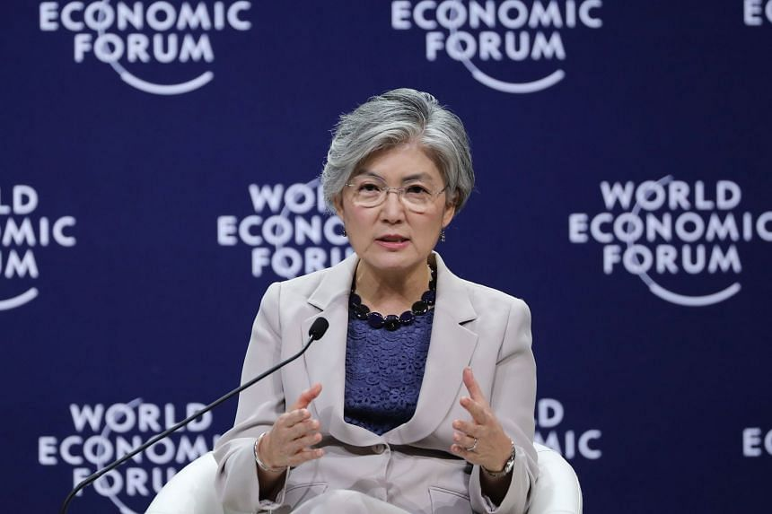 South Korea's Foreign Minister Kang Kyung-wha speaks during a panel discussion at the World Economic Forum on ASEAN at the National Convention Center in Hanoi, Vietnam, on Sept 13, 2018.