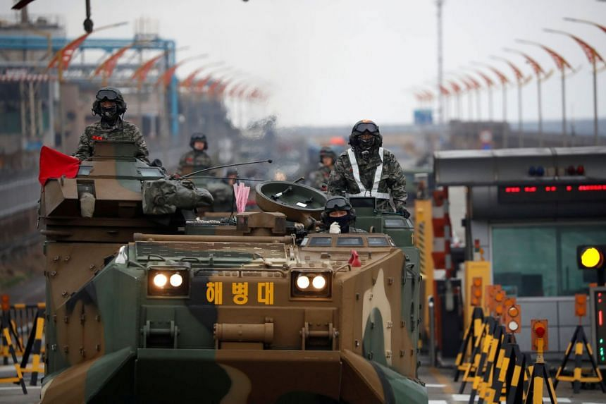 Amphibious assault vehicles of the South Korean Marine Corps travel during a military exercise in Pohang, South Korea, on April 5, 2018.