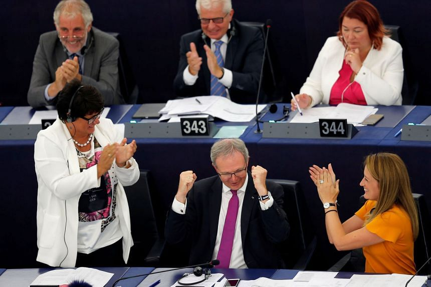 European Parliament MP Axel Voss cheering after the new law that gives media companies powers over tech firms was approved yesterday.
