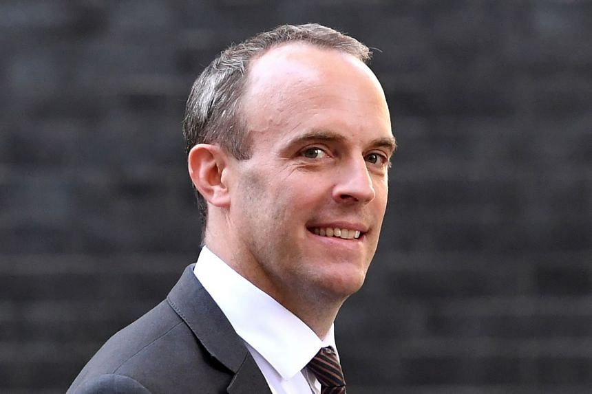 Raab leaves after a Brexit Cabinet meeting at Downing Street in London.