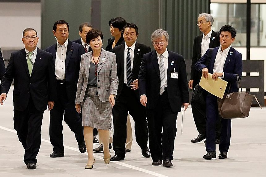 The 400,000sqm Toyosu fish market, where the iconic Tsukiji market will relocate to, will officially begin operations on Oct 11. Tokyo Governor Yuriko Koike inspecting the new Tokyo Metropolitan Central Wholesale Market, known as Toyosu market, yeste