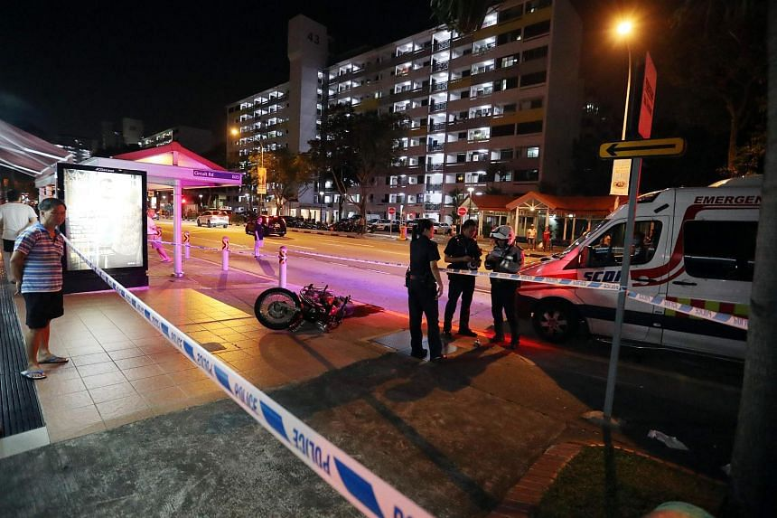 Two ambulances were dispatched, and both the motorcyclist and the woman were taken to Tan Tock Seng Hospital.