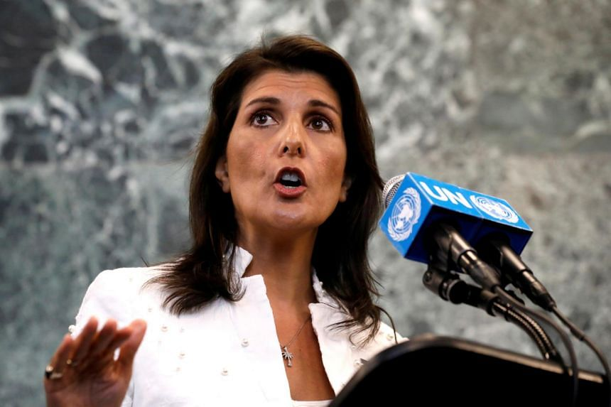 US Ambassador to the United Nations Nikki Haley speaks at a press briefing at the United Nations headquarters in New York.