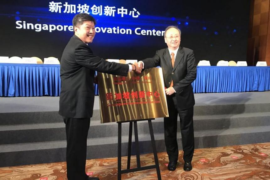 Minister in Prime Minister's Office Ng Chee Meng (left) and Sichuan governor Yin Li officiated the opening of the Singapore Innovation Centre at the 19th Singapore-Sichuan Trade and Investment Committee meeting in Chengdu, on Sept 14, 2018.