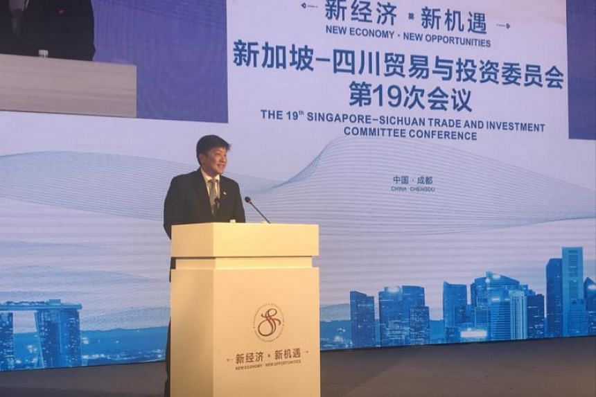 Minister in the Prime Minister's Office Ng Chee Meng speaking at the close of the 19th Singapore-Sichuan Trade and Investment Committee meeting in Chengdu on Sept 14, 2018.