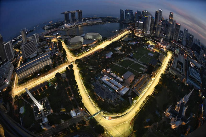 The illuminated Marina Bay Street Circuit, as seen from Swissotel The Stamford.