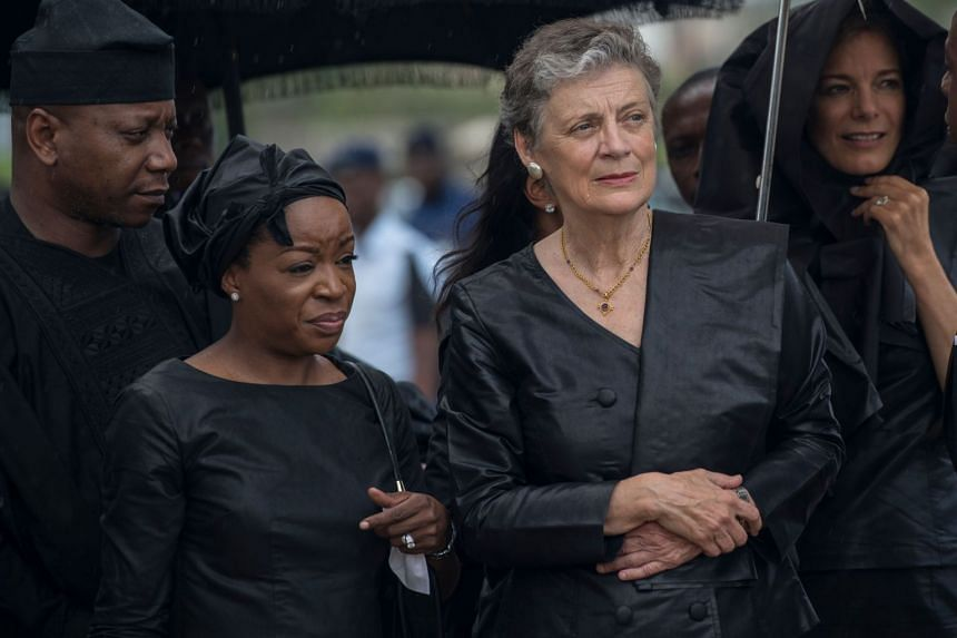 Nane Maria (right), widow of Kofi Annan, attends the funeral ceremony of her husband.