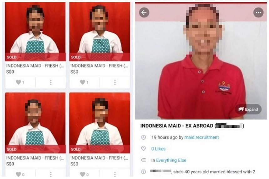 """In Carousell listings put up by user @maid.recruitment, the faces of several maids, allegedly from Indonesia, were posted. Some of the profiles even indicate that the maids have been """"sold""""."""
