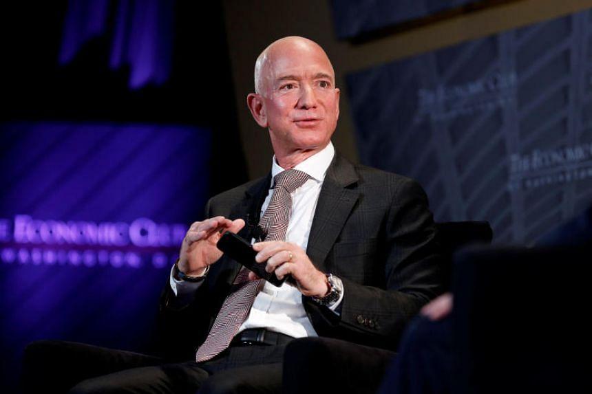 Mr Jeff Bezos speaking at the Economic Club of Washington DC's Milestone Celebration Dinner in Washington, US, on Sept 13, 2018.