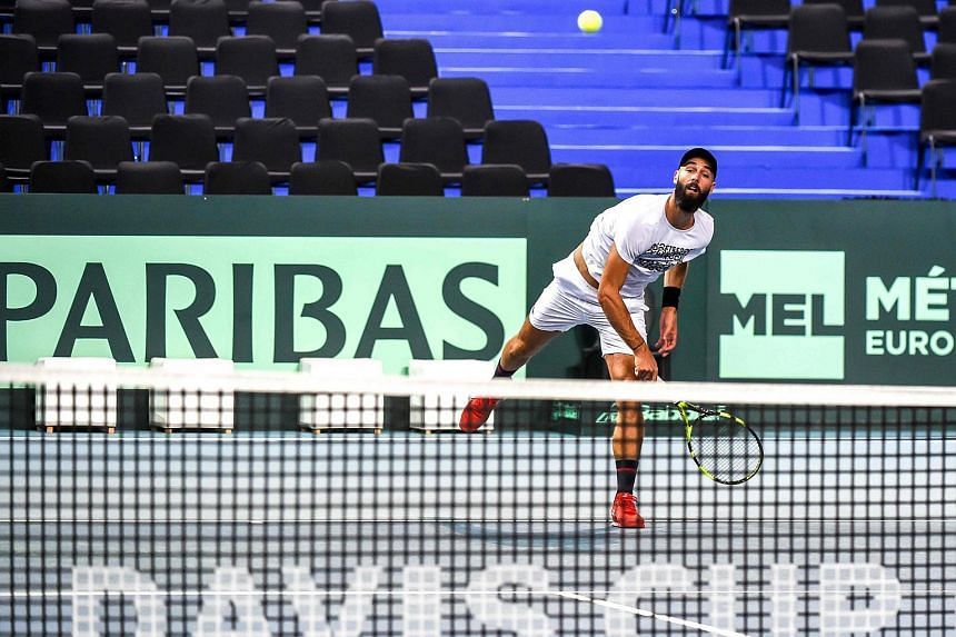 French player Benoît Paire during a trainning session in Lille, on Sept 13, 2018.