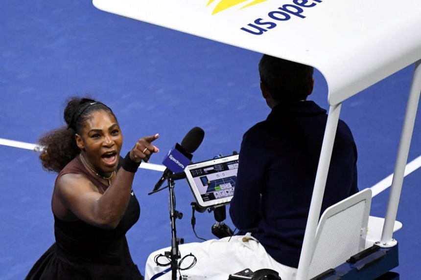 Serena Williams yelling at chair umpire Carlos Ramos in the women's final at the 2018 US Open tennis tournament on Sept 8, 2018.